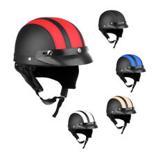 Motorcycle Half Face Helmet with Visor Open Face PU Leather Safe Bicycle Helmet