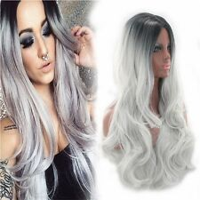 Charming Full Wigs Long Straight Curly Wavy Ombre Hair Wig Gray gradient Selling