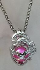 MARI GRAS MASK CAGE STERLING SILVER PENDANT & NECKLACE AKOYA PEARL OYSTER
