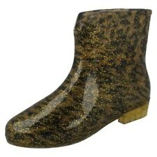 Womens Spot On Leopard Print Ankle Wellington Boots