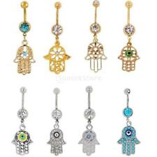 Lucky Charms Fatima Hand Dangle Belly Button Ring Body Piercing Crystal Jewelry
