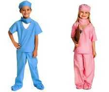 Dr. Nurse Doctor Physician Costume Kids Scrubs Set with working Stethoscope