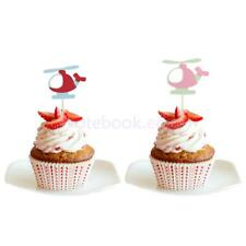 10pcs Helicopter Cake Cupcake Topper Food Picks Birthday Party Cake Decoration