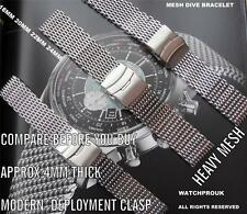 STAINLESS STEEL PLOPROF HEAVY MESH BRACELET BAND METAL STRAP TO FIT YOUR WATCH