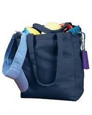 MONOGRAMMED PERSONALIZED NATURAL NAVY BLUE CANVAS BEACH SHOPPING BOOK TOTE BAG