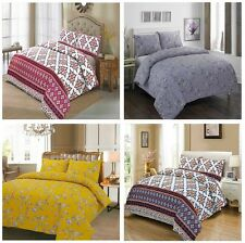 Luxury Printed Poly-Cotton Quilt Duvet Cover Bedding Set with Pillow Case