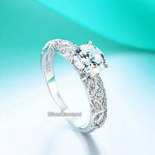 Fine 925 Sterling Silver Bridal Vintage Style Engagement Ring Simulated Diamond