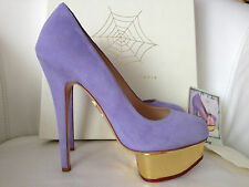$995 CHARLOTTE OLYMPIA DOLLY LAVENDER SUEDE Gold Platform Pump 38/38.5