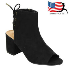 Contemporary Women's Back Lace Up Zipper Chunky Block Heel Ankle Bootie Black