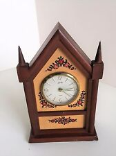 Mid Century Self Mantle Alarm Clock Germany, Solid Wood  Cathedral Church clock