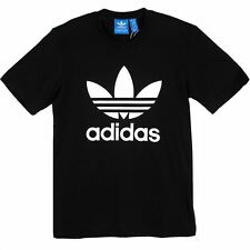 ADIDAS ORIGINALS TREFOIL T-SHIRT TEE BLACK CREWNECK SHORT SLEEVE 100% COTTON