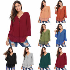 2017 Womens Ruched V Neck Lace Detail Button Up Long Sleeves Blouse Top Shirt