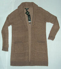 LAUREN Ralph Lauren Womens NWT $175 Shawl Cardigan Sweater, Brown, Petite M or L