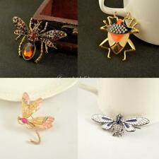 Vintage Crystal Animal Brooches Pin Enamel Alloy Breastpin Insect Dragonfly Bee