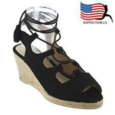 Contemporary Women's Lace Up Strappy Espadrille Platform Wedge Sandals Black