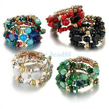 Vintage Faux Turquoise Agate Glass Beads Multilayer Bracelet Bangle Jewelry New