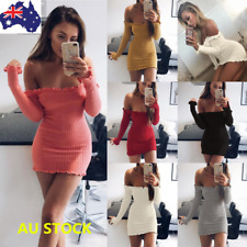 Women Off Shoulder Bandeau Bodycon Evening Party Long Sleeve Leotard Mini Dress
