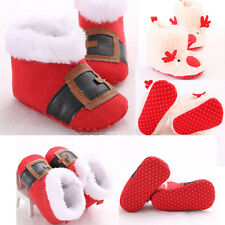 Christmas Baby Toddler Infant Snow Boots Soft Sole Prewalker Winter Crib Shoes
