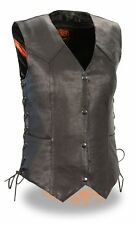 Ladies Motorcycle Lightweight Side Lace Four Snap Vest W/Dual Inside Gun Pockets