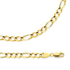 Figaro Necklace Solid 14k Yellow Gold Chain Open 3 + 1 Link Light , 5.6 mm