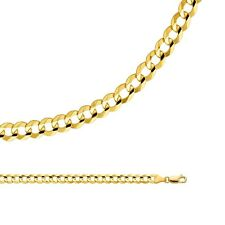 Cuban Necklace Solid 14k Yellow Gold Chain Open Curb Wide Light  , 5.7 mm