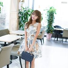 Female A-line Dress Women Summer Dress Sleeveless Cute Printing Round Neck Y8