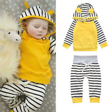 3-24 Months Baby Boy Girl Clothing Set Autumn Hooded Pullover Top&Striped Pants