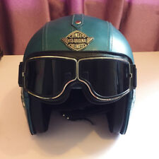 New Motorcycle Helmet Leather With Pilot Goggles 3/4 Vintage Halley Helmet