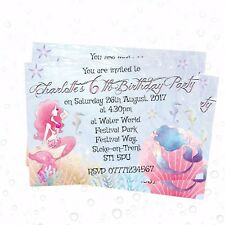 4 Personalised Mermaid Pool Party Invitations or Thank you Cards & Envelopes