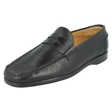 Grenson 'Newport' Mens Black Leather Formal Moccasin Shoes F Fit