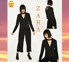 ZARA Black Long Sleeve T Shirt With Bow And Choker Brand New Crop Top Size M; L