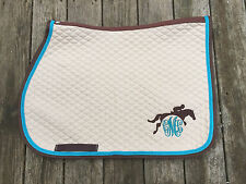Custom English Saddle Pad with Monogram and Jumping Horse and Braided Trim