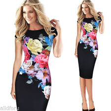 Dress Sexy Women Floral Print Slim Cap Sleeve Ruffle Evening Party Bodycon Dress