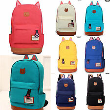 Girls Canvas Backpack Cat Design School College Bag Cat Ears Tenagers Backpack