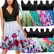 Women Retro 50s 60s Vintage Dress Floral Rockabilly Cocktail Party Swing Dress