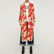 Fashion Red Floral Japanese Kimono Long Sleeve Fall Womens Jackets Coasts New