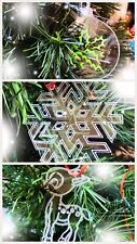 Christmas Tree Hanging Decorations Bauble, Snowflake or Reindeer Set of Four