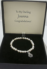 Freshwater Cultured Pearl Bracelet with S/Silver Angel Charm & Drop Earrings