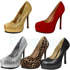 Concealed Platform Stiletto Heel Court Party Shoes   Womens Size