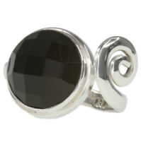 Agate Gemstone 15mm Open Ring Band Sterling Silver Ring
