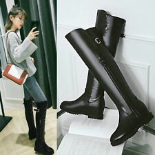 2017 Sexy Womens Round Toe Zip PU Leather Over Knee High Boots Flat Heel Shoes