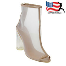 Christmas Women Ankle High Peep Toe Back Zipper Lucite Heel Mesh Booties Nude
