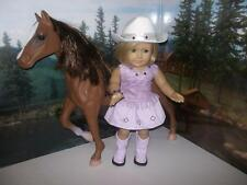 """Cowgirl outfit boots and hat fits 18"""" American girl doll purple"""