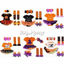 4pcs Baby Girl Clothes Halloween Pumpkin Bodysuit Romper Jumpsuit Tutu Skirt Set