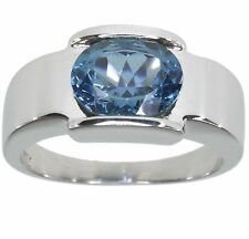 Blue Topaz Gemstone Oval 10mm by 8mm Sterling Silver Ring