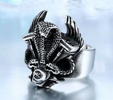 Mens Gothic Biker Snake Motorcycle Ring Silver Stainless Steel Cool Ring for Men