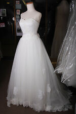 Handmade Off-white Organza Sweetheart Sleeveless Cathedral Train Wedding Gown