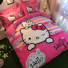 ** Pink Hello Kitty & Bunny Queen Bed Quilt Cover Set - Flat or Fitted Sheet **