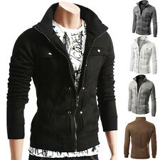 HS Mens Slim Fit Stand Collar Coat Tops Military Jacket Winter Outwear Blazer