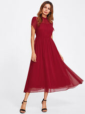 Wrap Tulip Sleeve Chiffon Red Dress Long Maxi Short Sleeve Elegant Work New
